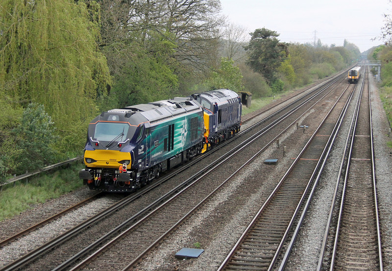 68002 Old Basing 22/04/14 on the rear of 0Z68 Eastleigh to Willesden Brent led by 37423